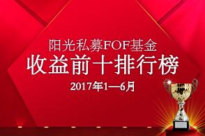 1-6月阳光私募FOF基金收益前十排行榜