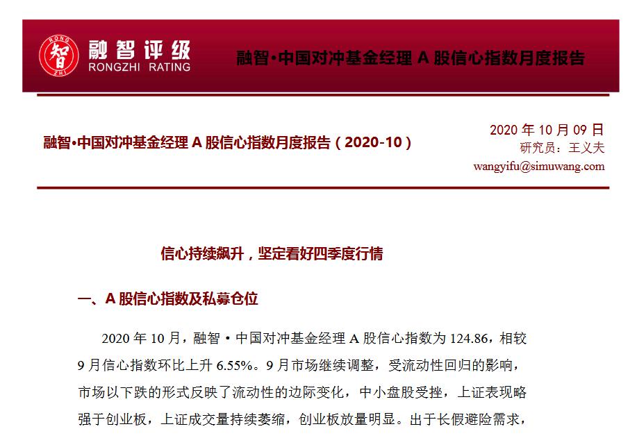 融智•中国对冲基金经理A股信心指数10月报告PDF百度网盘下载